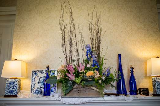 Cobalt mantle decor for wedding in an historic home