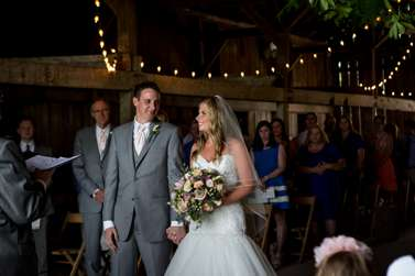 Bride & Groom during vibrant Kentucky summer barn wedding