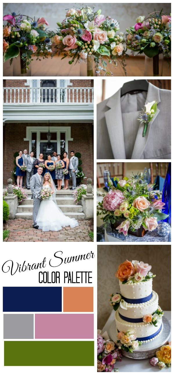 Vibrant Summer Color Palette, Blue, Grey, Pink, Peach and Green, Photos by Jessica Moore Photography
