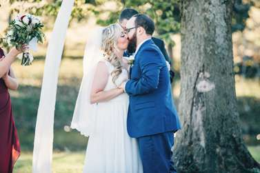 Outdoor fall wedding ceremony in Kentucky