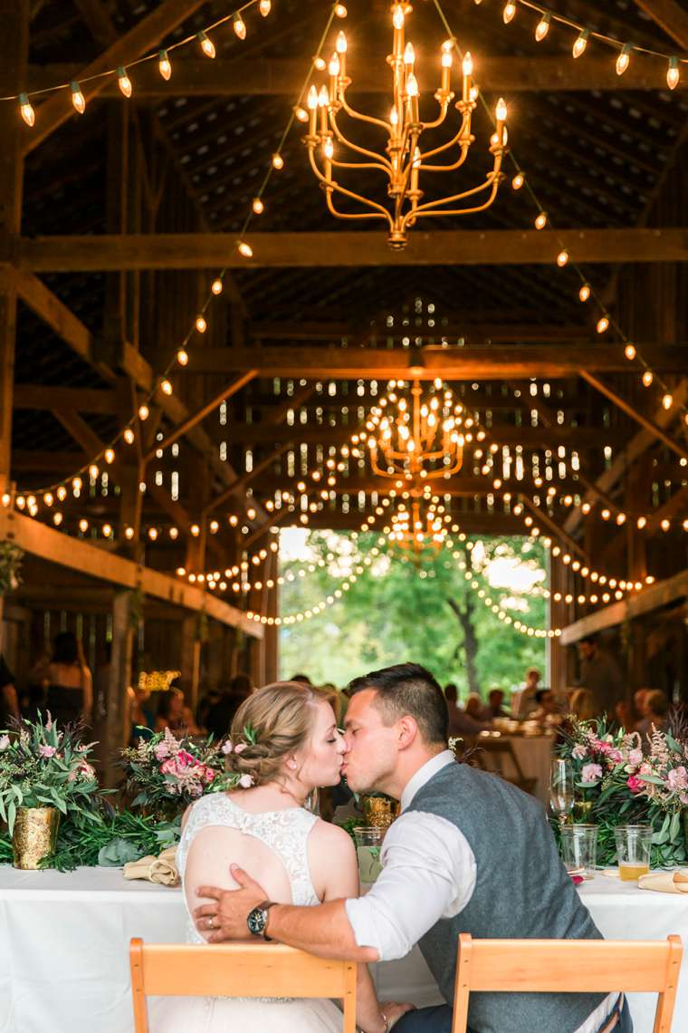Bride and groom in Kentucky wedding barn, destination wedding venue