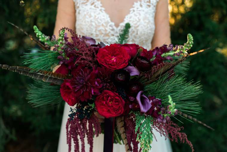 Red, purple and burgundy winter bridal bouquet