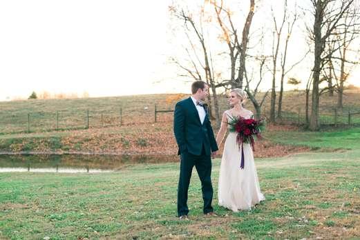 Dapper groom & classic southern bride at Kentucky winter wedding