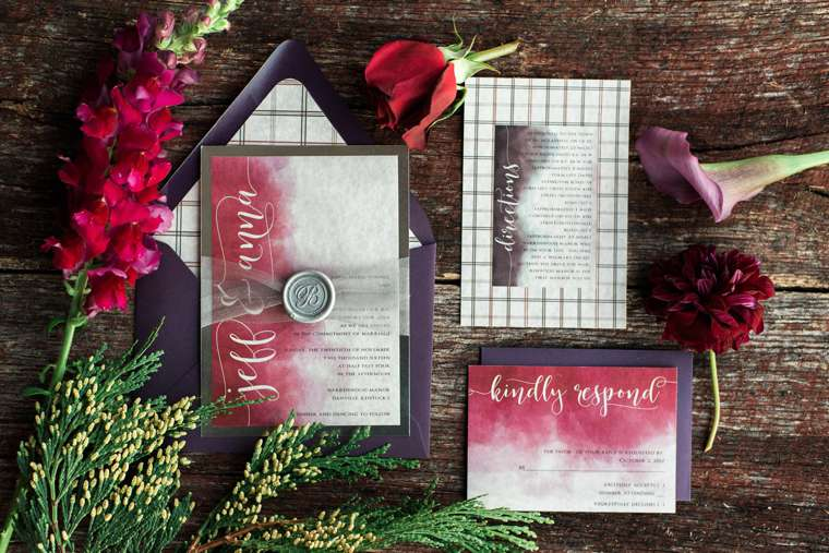 Watercolor wedding invitations with calligraphy for winter wedding