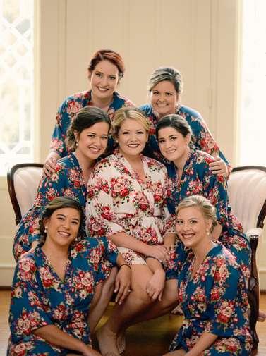 Bride & Bridesmaids in floral print robes