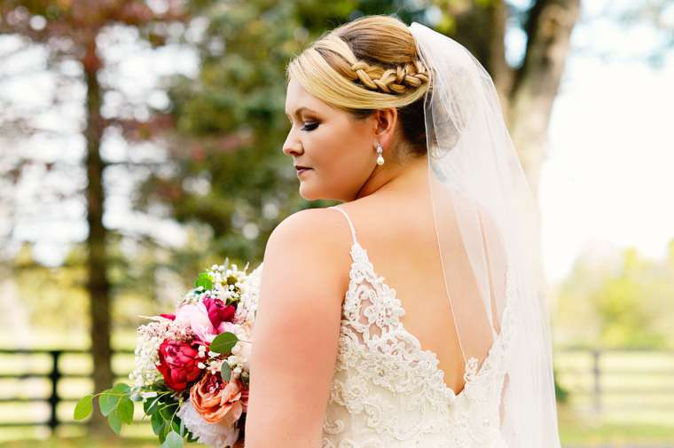 Bride with braided updo for wedding