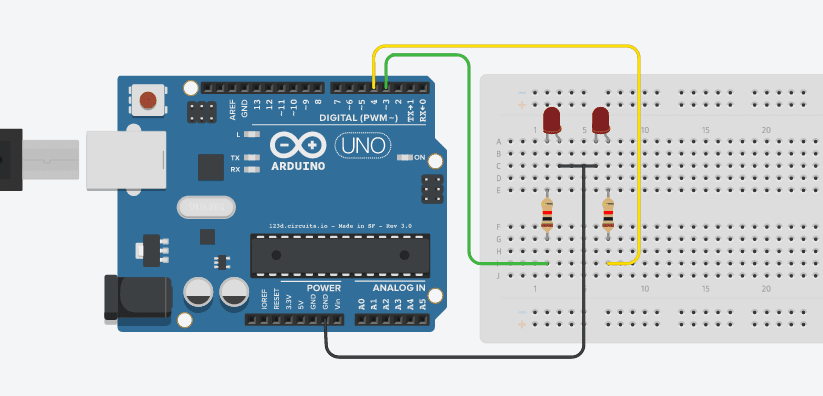 Lampu LED Flip-Flop Menggunakan Arduino UNO