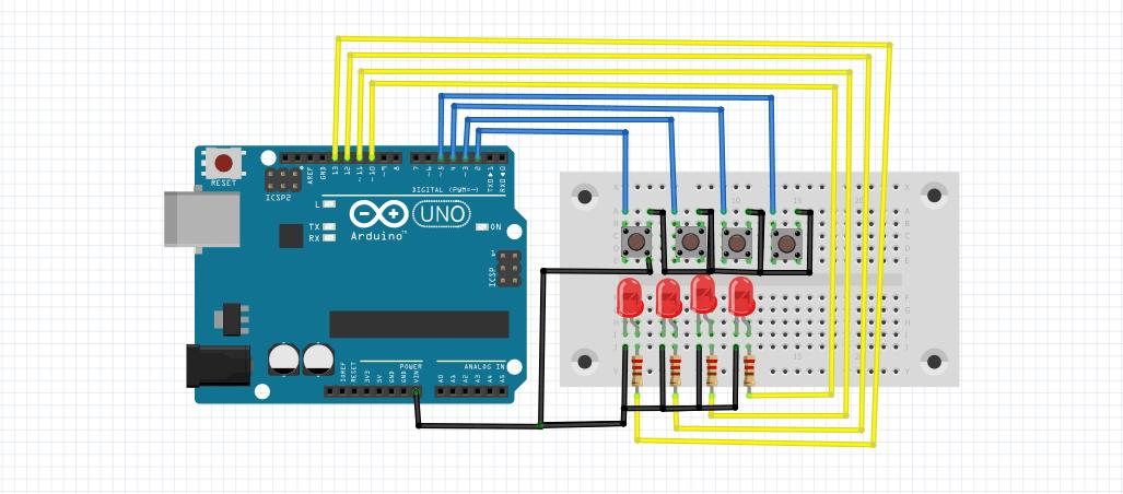 Menyalakan 4 LED Dengan 4 Push Button Menggunakan Arduino UNO