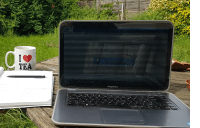 Working on the blog outside in the garden