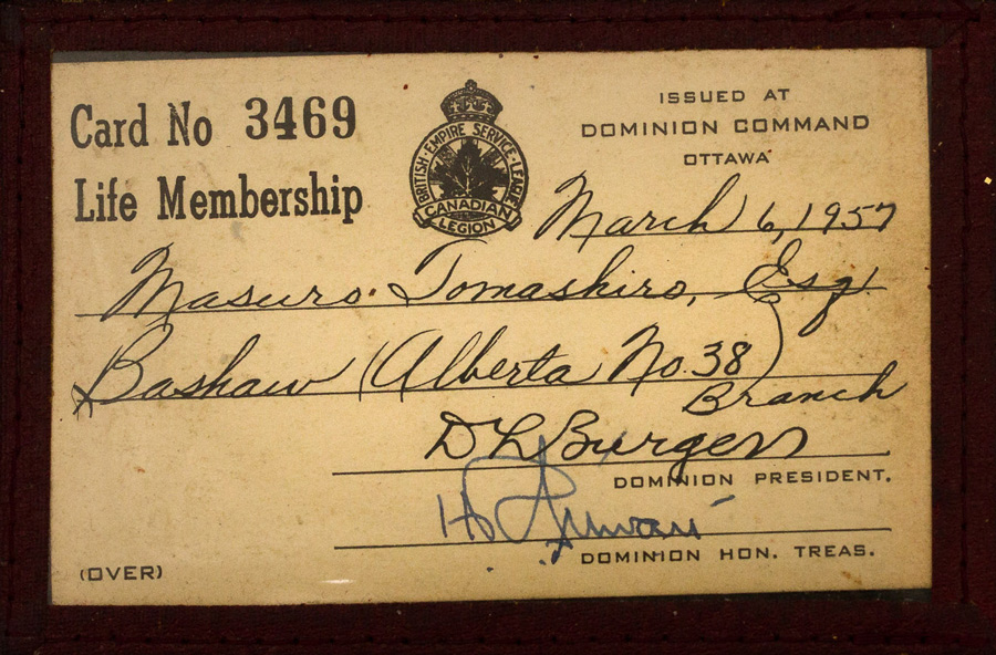 Masuro Tamashiro's Canadian Legion, BESL membership card, 1957. Masuro Tamashiro fonds, NNM 2016.7.1.1.1