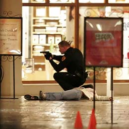 A Salt Lake City police officer inside the Trolley Square Mall Feb., 12, 2007, the night of the shooting