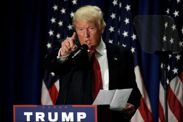 Republican presidential nominee Donald Trump speaks at the Cleveland Arts and Social Sciences Academy in Cleveland