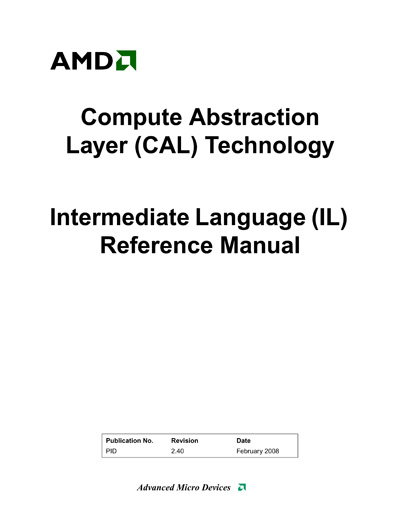 Technical Writer, AMD/ATI Intermediate Language (IL) Manual