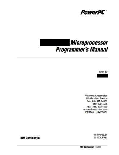 Technical Writer, IBM PowerPC 615 Microprocessor