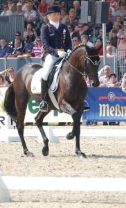 Ingrid clime and Butts Abraxxas in the Dressage phase