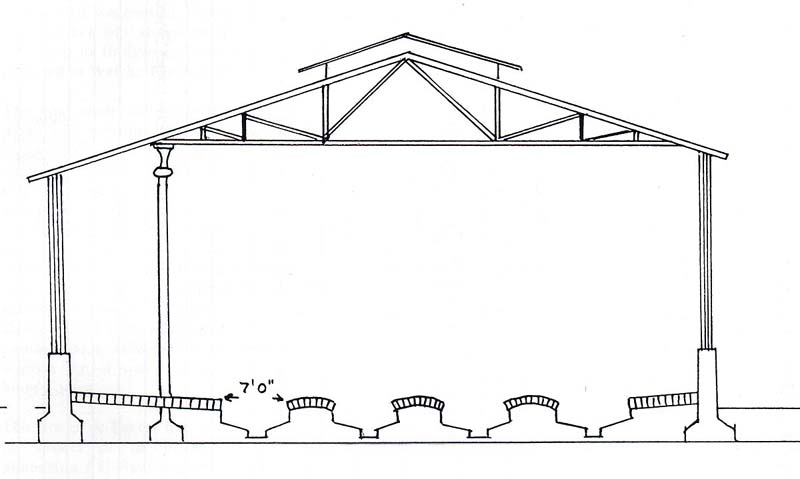 Bordesley Shed: Schematic drawing showing a transverse