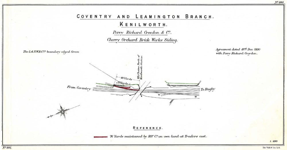 medium resolution of lnwr trackplan of cherry orchard brickworks siding at kenilworth on the nuneaton to leamington line