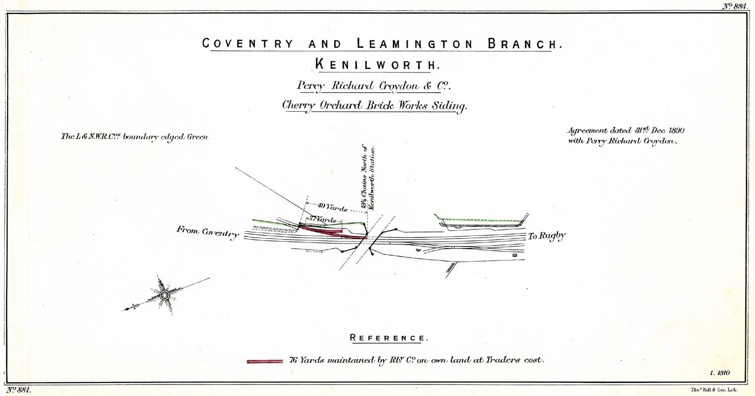 hight resolution of lnwr trackplan of cherry orchard brickworks siding at kenilworth on the nuneaton to leamington line
