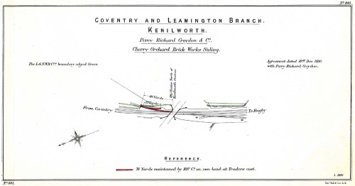 small resolution of lnwr trackplan of cherry orchard brickworks siding at kenilworth on the nuneaton to leamington line