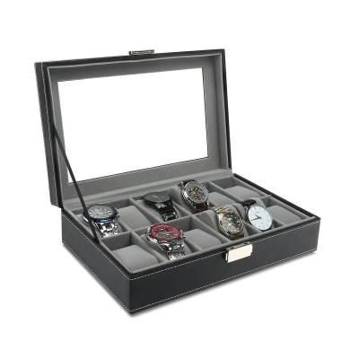 schwarze uhrenbox mit glasscheibe