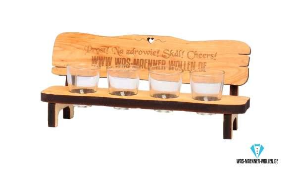 Personalisierte Geschenke Schnapsbank mit Gravur aus Holz Männergeschenk 4