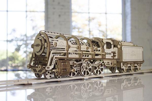 Holzbausatz - besten Holzmodell kaufen - Bausatz aus Holz - Geschenkidee und Männerspielzeug - Lokomotive aus Holz