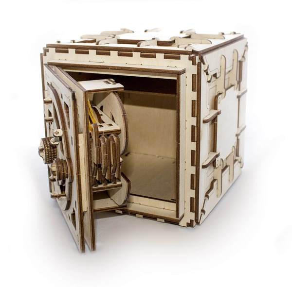 Holzbausatz - besten Holzmodell kaufen - Bausatz aus Holz - Geschenkidee und Männerspielzeug - Tresor aus Holz 2