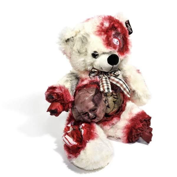 Zombie Teddy kaufen Geschenk für Horror Fans - Teddybär, Kuscheltier, Plüschtier, Stofftier - Kopf aus dem Bauch 3