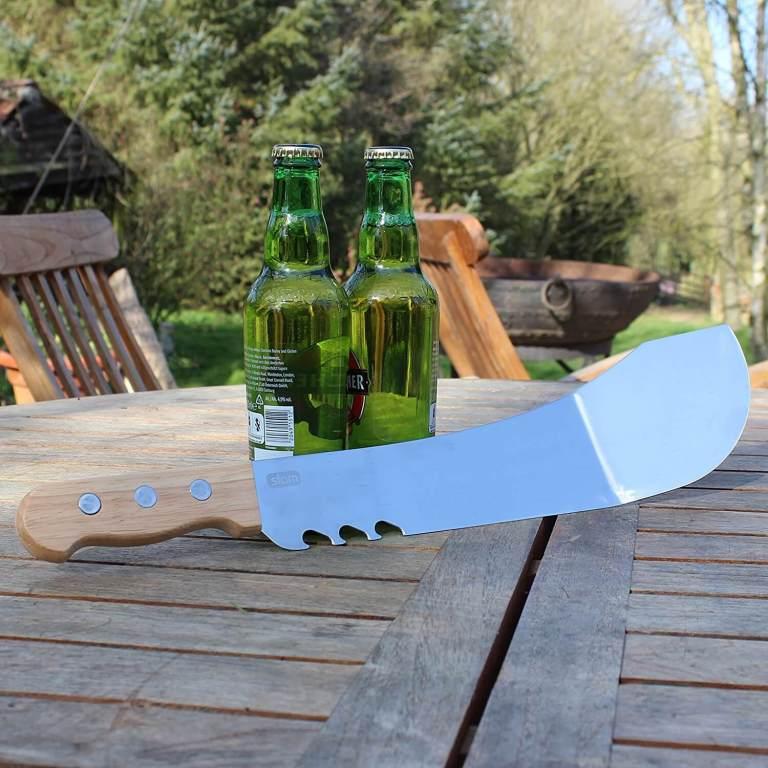 Aussergewöhnliche Flaschenöffner ungewöhnlich Kapselheber ausgefallen Bieröffner - coole, besondere, beste, edle, edel, lustige, originelle, aus Holz - Grillmachete mit Flaschenöffner