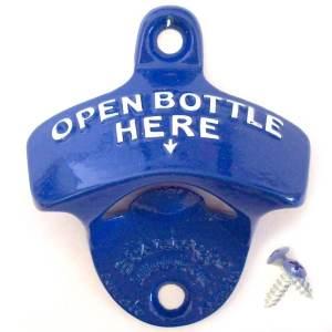 Aussergewöhnliche Flaschenöffner ungewöhnlich Kapselheber ausgefallen Bieröffner - coole, besondere, beste, originelle, aus Holz - Wand Flaschenöffne open bottle here blau
