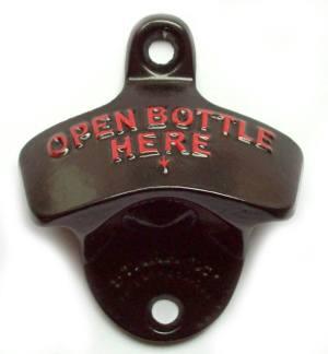 Aussergewöhnliche Flaschenöffner ungewöhnlich Kapselheber ausgefallen Bieröffner - coole, besondere, beste, originelle, aus Holz - Wand Flaschenöffne open bottle here schwarz