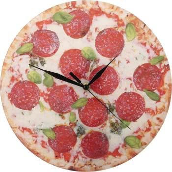 Food Design Pizza Uhr Salami Basilikum