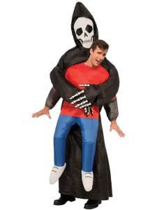 101 Carry Me Kostüm aufeblasener Sensenmann der Tod Huckepack Kostüm Sensenmann Verkleidung Piggyback Ride On Kostüm Faschings Karneval Kostüm Halloween JGA Junggesellenabschied