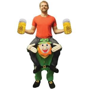 109 Carry Me Kostüm Leprechaun Huckepack Kostüm irischer Kobold Einheitsgröße zum Anpassen Verkleidung Fabelwesen Piggyback Ride On auf den Schultern Faschings Karneval Kostüm Halloween