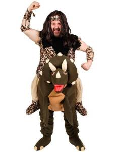 122 Carry Me Kostüm Höhlenmensch auf Dino komplett Huckepack Kostüm Steinzeitmensch auf Dino Verkleidung Fabelwesen Piggyback Ride On auf den Schultern Faschings Karneval Kostüm