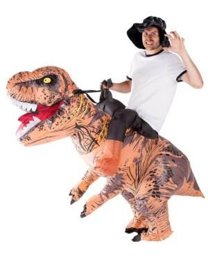 123 Carry Me Kostüm Bestes Carry Me Dino Huckepack Kostüm aufblasbarer Dino T-Rex Verkleidung Fabelwesen Piggyback Ride On auf den Schultern Faschings Karneval Kostüm Halloween JGA