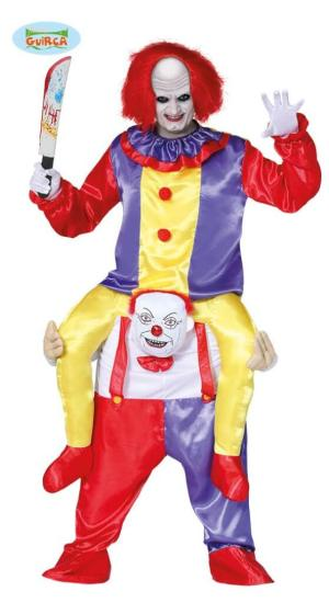 148 Carry Me Kostüm böses Clowns Duo Huckepack Kostüm 2 Clowns Verkleidung Fabelwesen Piggyback Ride On auf den Schultern Faschings Karneval Kostüm Halloween JGA Carry Me Bestseller