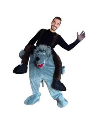 35 Huckepack böser Wolf Kostüm Wolfs Verkleidung Tierkostüm Piggyback Ride On auf den Schultern Kostüm Faschings Geschenk Karneval Kostüm Halloween Fastnacht Ohne Rotkäppchen