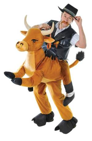 47 Carry Me Huckepack Kostüm Bullenreiter Kostüm Bullen Reiten Verkleidung Tierkostüm Piggyback Ride On auf den Schultern Faschings Geschenk Karneval Halloween Junggesellenabschied