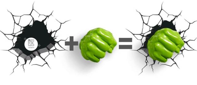 Superhelden 3D Wandleuchten – Optisch ein Highlight - Hulk Hand 3