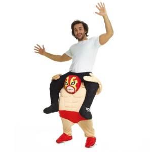 238 Carry Me Kostüm mexikanischer Wrestler Kostüm Wrestling Verkleidung Fabelwesen Piggyback Ride On auf den Schultern Faschings Karneval Kostüm Halloween JGA DIY