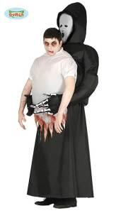 304 Carry Me Kostüm vom Tod getragen LIFT ME UP Verkleidung Piggyback Ride On auf den Schultern Sensenmann Faschings Karneval Kostüm Halloween Junggesellenabschied DIY