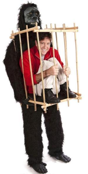 318 Carry Me Kostüm Vom Gorilla getragen LIFT ME UP Verkleidung Piggyback Ride On auf den Schulternim Käfig getragen Faschings Karneval Kostüm Halloween Junggesellenabschied DIY