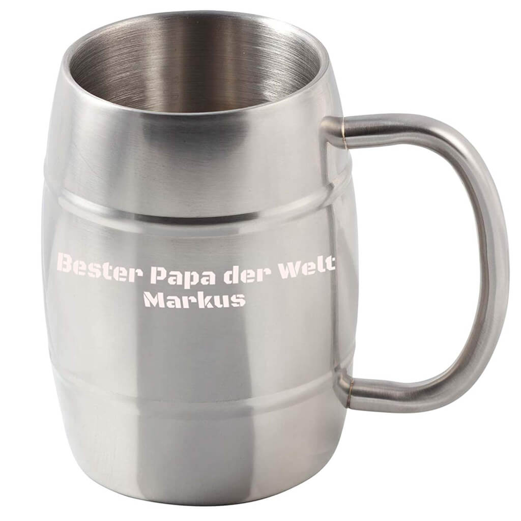 Personalisierbarer Edelstahl Becher Bierkrug Thermokrug