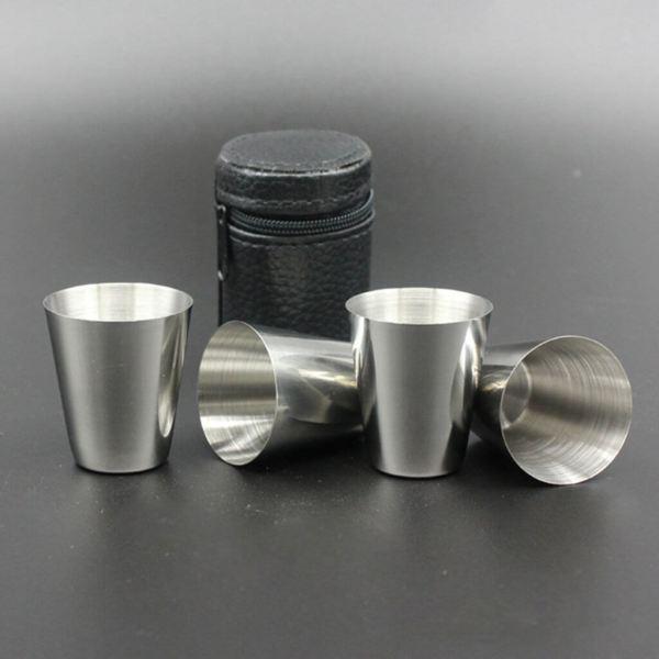 27 Edelstahl Stamperl im Lederetui - Schnapsgläser - Shotgläser im edlen Design - Shot Becher - Tequila Gläser - Schnaps Becher - Stamperl - Pinneken - Pinnchen - Schott Glas - Gläser Set