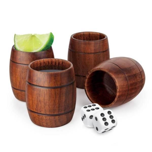 45 4 Holzfass Schnapsbecher - Holzfässer Shotbecher Set - Shot Becher - Tequila Gläser - Schnaps Becher - Stamperl - Pinneken - Pinnchen - Schott Glas - Gläser Set - Schnapsgläser