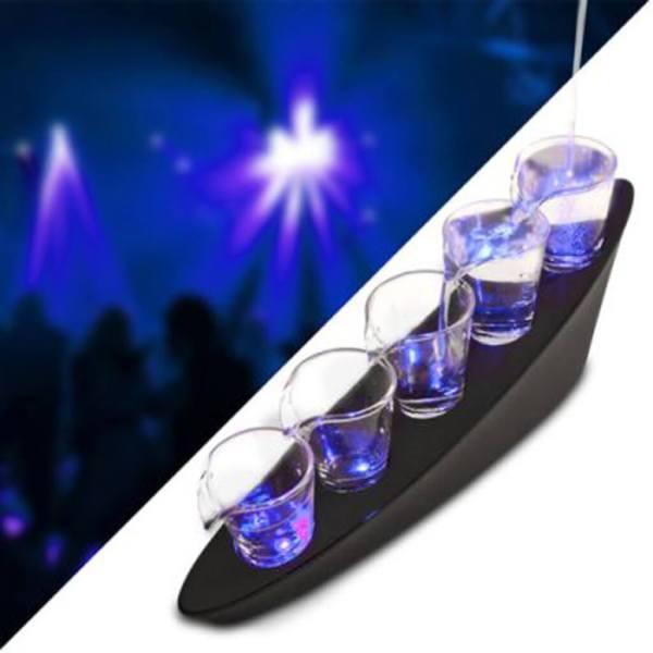 46 5 LED Dominoeffekt Schnapsbecher - Dominoeffekt Shotbecher Set - Shot Becher - Tequila Gläser - Schnaps Becher - Stamperl - Pinneken - Pinnchen - Schott Glas - Gläser Set - Schnapsgläser