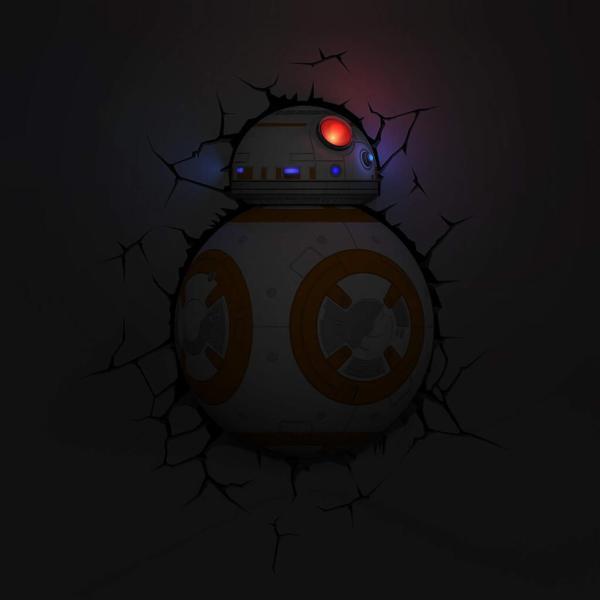 Star Wars 3D Wandlampe - BB-8 Droid an - Superhelden Lampe - Wandlampe in 3D - Durch die Wand Lampe - 3D Lampe Star Wars