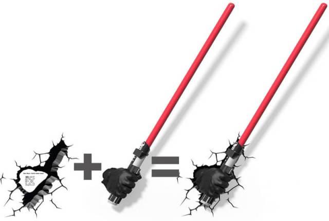 Star Wars 3D Wandlampe - Darth Vader Lichtschwert Hand Handschuh Schablone - Superhelden Lampe - Wandlampe in 3D - Durch die Wand Lampe - 3D Lampe Star Wars