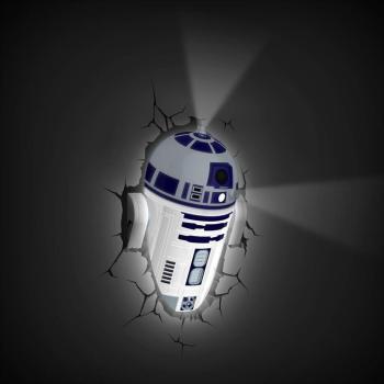 Star Wars 3D Wandlampe - R2D2 an - Superhelden Lampe - Wandlampe in 3D - Durch die Wand Lampe - 3D Lampe Star Wars